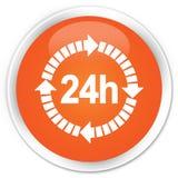 24 horas de la entrega de botón redondo anaranjado superior del icono ilustración del vector