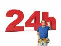 24 horas de serviço do trabalhador manual Foto de Stock