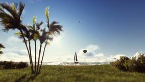 Horas de verão do por do sol, povos na praia, balão de ar e iate ilustração stock