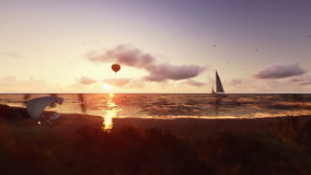 Horas de verão do por do sol, povos na praia, balão de ar e navigação do iate ilustração royalty free