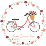 Horas de verão felizes do cartão com imagem do vetor da bicicleta e das flores ilustração stock