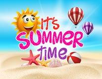 Horas de verão na costa de mar da praia com objetos realísticos ilustração stock
