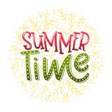 Horas de verão - projeto tipográfico tirado mão Fotos de Stock Royalty Free