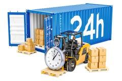 24 horas jejuam o conceito do transporte de carga, 3D Imagens de Stock Royalty Free