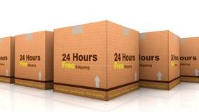 24 horas livram o cardbox do transporte Fotografia de Stock Royalty Free
