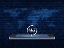 24 horas prestam serviços de manutenção ao ícone na tela esperta moderna do telefone sobre o mapa e Fotografia de Stock Royalty Free
