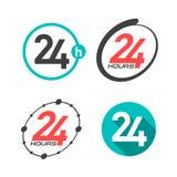 24 horas um ícones do dia ilustração stock