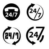 24 horas uma coleção do dia e 7 dias por semana do ícone, Foto de Stock Royalty Free