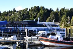 Tourist harbour in bariloche city royalty free stock photos