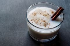 Horchata with Cinnamon stick and ice. Organic Beverage stock images