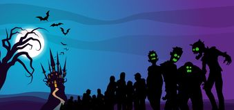 Horda frecuentada Halloween del zombi del castillo stock de ilustración
