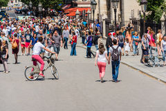 Hordes of tourists on a street of Paris, France. FRANCE, PARIS - JUNE 06: Hordes of tourists on a street of Paris, France on June 06, 2015 Royalty Free Stock Photography