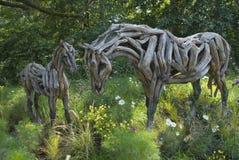 Hores雕塑在蒙特利尔植物园里。 库存图片