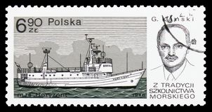 Horezont, G. Kanski, Training ships serie, circa 1980. MOSCOW, RUSSIA - OCTOBER 6, 2018: A stamp printed in Poland shows Horezont, G. Kanski, Training ships stock photography
