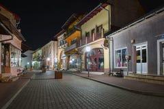 Horezu downtown during nighttime . HOREZU, ROMANIA - SEPTEMBER, 2015: Horezu downtown during nighttime .The town is well known for Horezu ceramics and its Stock Images