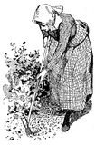 Horiculture vintage illustration, woman working in the garden wi. Gardening vintage illustration, woman with hoe works in the garden to prepare soil for sowing Stock Images