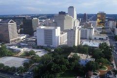 Horisont av Austin, TX, statlig capitol på solnedgången Arkivbilder