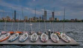 Horisont av Boston från floden arkivfoton