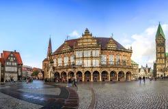 Horisont av Bremen den huvudsakliga marknadsfyrkanten, Tyskland Royaltyfria Foton