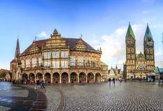 Horisont av Bremen den huvudsakliga marknadsfyrkanten, Tyskland Royaltyfri Bild