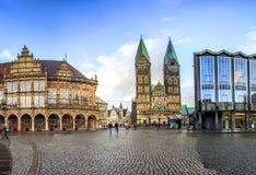 Horisont av Bremen den huvudsakliga marknadsfyrkanten, Tyskland Royaltyfri Foto