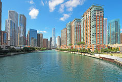 Horisont av Chicago, Illinois längs Chicagoet River Arkivfoto