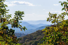 Horisont av den blåa Ridge Mountains i Virginia på Shenandoah Na Arkivfoto