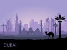Horisont av Dubai med kamlet och datumet gömma i handflatan förenade arabiska emirates royaltyfri illustrationer