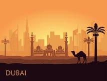 Horisont av Dubai med kamlet och datumet gömma i handflatan förenade arabiska emirates vektor illustrationer