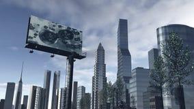 Horisont av en futuristisk stad med en video skärm Royaltyfri Bild