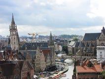 Horisont av Ghent, Belgien Arkivbilder