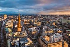 Horisont av Hamburg, Tyskland Royaltyfri Bild