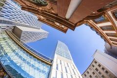 Horisont av highrisebyggnader i Frankfurt Royaltyfria Bilder