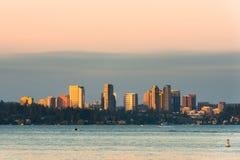 Horisont av i stadens centrum Bellevue arkivfoto