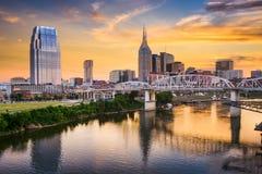 Horisont av i stadens centrum Nashville, Tennessee Royaltyfri Foto