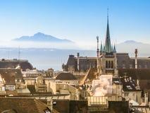 Horisont av Lausanne, Schweiz Royaltyfri Foto