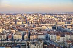 Horisont av Lyon med floden Fotografering för Bildbyråer