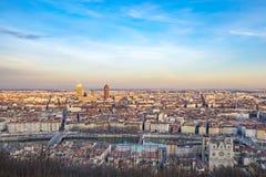 Horisont av Lyon med floden Royaltyfri Foto