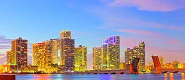 Horisont av Miami Florida Arkivbild