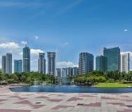 Horisont av området för central affär av Kuala Lumpur Royaltyfri Bild