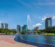 Horisont av området för central affär av Kuala Lumpur, Malaysia Arkivbild