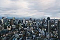 Horisont av Osaka, Japan royaltyfria bilder