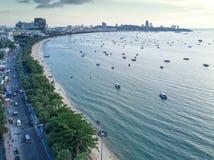 Horisont av Pattaya från flyg- sikt, Pattaya stad, Chonburi, Tha Royaltyfria Foton