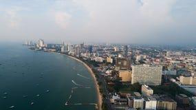 Horisont av Pattaya från flyg- sikt, Pattaya stad, Chonburi Fotografering för Bildbyråer