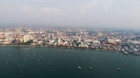 Horisont av Pattaya från flyg- sikt, Pattaya stad, Chonburi Royaltyfria Bilder