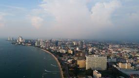Horisont av Pattaya från flyg- sikt, Pattaya stad, Chonburi Royaltyfria Foton