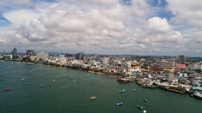 Horisont av Pattaya från flyg- sikt, Pattaya stad, Chonburi Arkivbilder