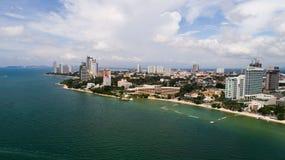 Horisont av Pattaya från flyg- sikt, Pattaya stad, Chonburi Arkivbild