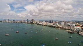 Horisont av Pattaya från flyg- sikt, Pattaya stad, Chonburi Royaltyfri Bild
