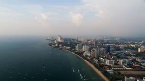 Horisont av Pattaya från flyg- sikt, Pattaya stad, Chonburi Arkivfoto
